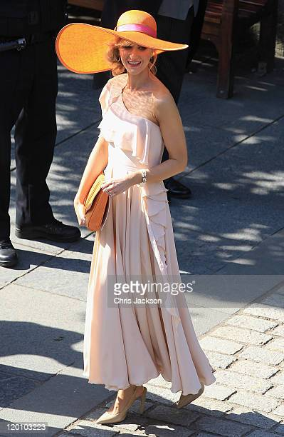 Katherine Kelly leaves Canongate Kirk on the afternoon of the wedding of Mike Tindall and Zara Philips on July 30, 2011 in Edinburgh, Scotland. The...