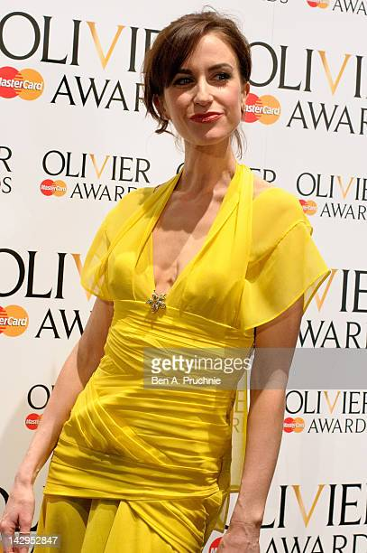 Katherine Kelly poses in the press room at the 2012 Olivier Awards at The Royal Opera House on April 15 2012 in London England