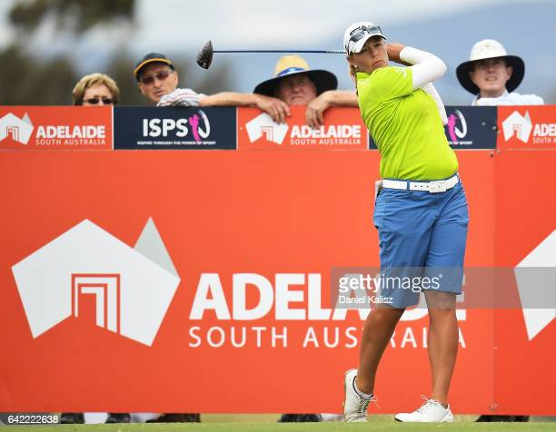 Katherine Kirk of Australia drives from the tee during round two of the ISPS Handa Women's Australian Open at Royal Adelaide Golf Club on February 17...