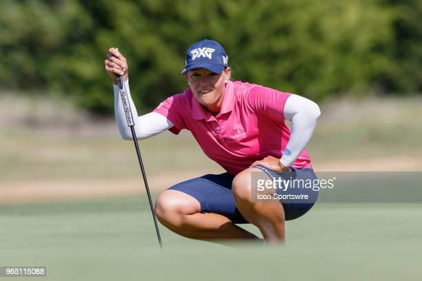 Katherine Kirk of Australia lines up her putt on during the LPGA Volunteers of America Texas Classic on May 5 2018 at the Old American Golf Club in...