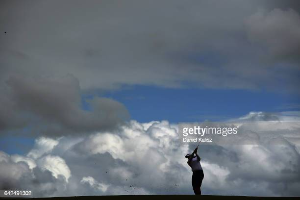 Katherine Kirk of Australia plays a shot during round three of the ISPS Handa Women's Australian Open at Royal Adelaide Golf Club on February 18,...