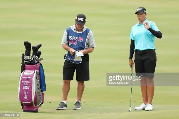 Katherine Kirk of Australia prepares to play her approach shot on the 1st hole during day four of the ISPS Handa Australian Women's Open at Kooyonga...