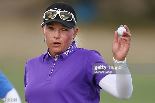 Katherine Kirk of Australia reacts after a putt ont the 18th hole during day three of the LPGA Australian Open at Royal Melbourne Golf Course on...
