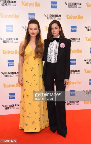 Katherine Langford and Ana de Armas attend the European Premiere of Knives Out during the 63rd BFI London Film Festival at Odeon Luxe Leicester...