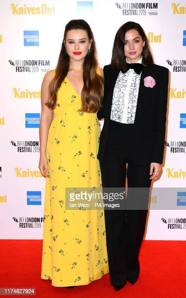 Katherine Langford and Ana de Armas attending the European premiere of Knives Out held as part of the BFI London Film Festival 2019 at the Odeon Luxe...