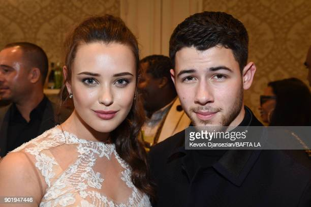 Katherine Langford and Nick Jonas attend The BAFTA Los Angeles Tea Party at Four Seasons Hotel Los Angeles at Beverly Hills on January 6 2018 in Los...