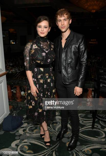 Katherine Langford and Tommy Dorfman attend the GLSEN Respect Awards at the Beverly Wilshire Four Seasons Hotel on October 19 2018 in Beverly Hills...
