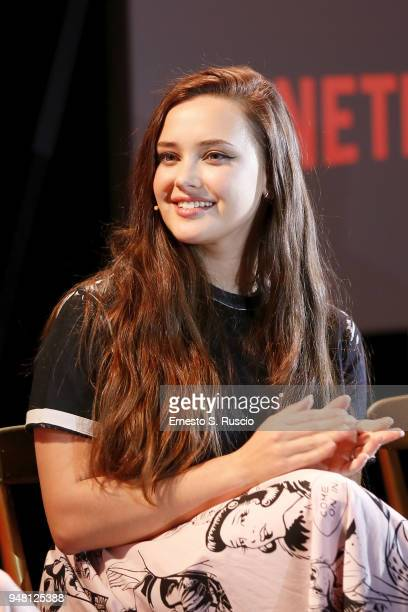 Katherine Langford attends GLOW 13 Reasons Why panel during Netflix 'See What's Next' event at Villa Miani on April 18 2018 in Rome Italy