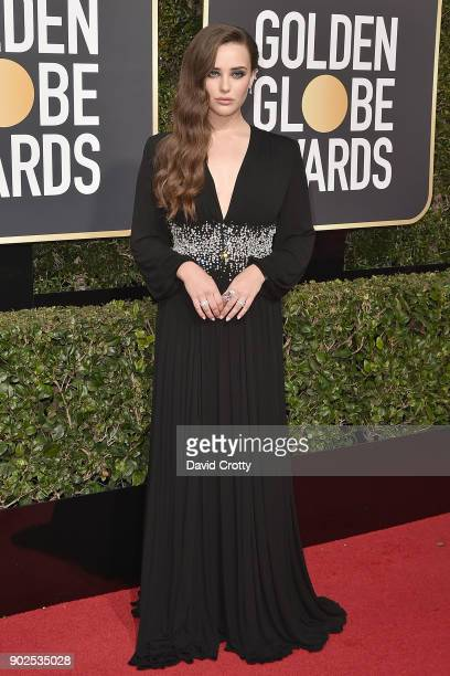 Katherine Langford attends the 75th Annual Golden Globe Awards Arrivals at The Beverly Hilton Hotel on January 7 2018 in Beverly Hills California