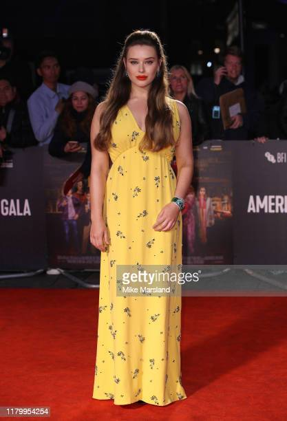 Katherine Langford attends the Knives Out European Premiere during the 63rd BFI London Film Festival at the Odeon Luxe Leicester Square on October 08...