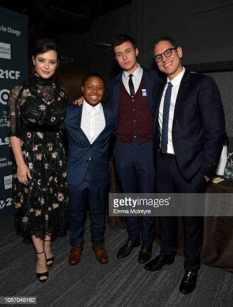 Katherine Langford JP Grant Nick Robinson and Greg Berlanti attend the GLSEN Respect Awards at the Beverly Wilshire Four Seasons Hotel on October 19...
