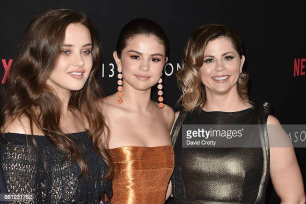 Katherine Langford Selena Gomez and Mandy Teefey attend the premiere of Netflix's '13 Reasons Why' at Paramount Pictures on March 30 2017 in Los...