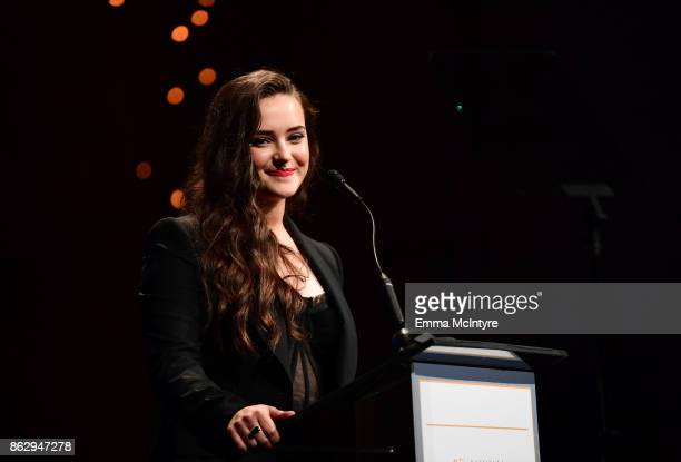 Katherine Langford speaks onstage at the 6th Annual Australians in Film Award Benefit Dinner at NeueHouse Hollywood on October 18 2017 in Los Angeles...
