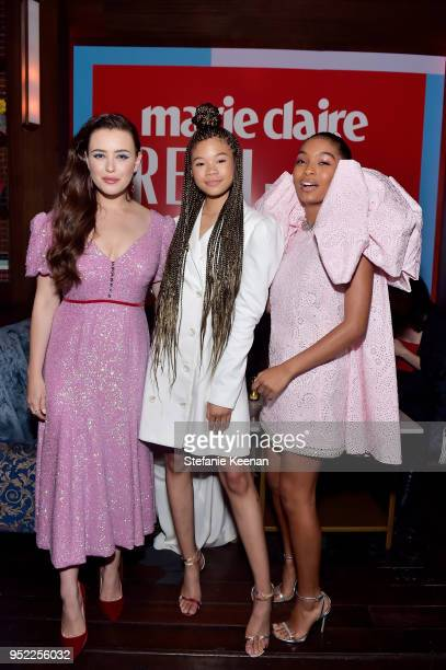 Katherine Langford Storm Reid and Yara Shahidi attend Marie Claire Celebrates Fifth Annual 'Fresh Faces' in Hollywood with SheaMoisture Simon G and...