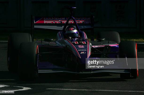 Katherine Legge drives the Dale Coyne Racing Panoz DP01 during practice for the ChampCar World Series Grand Premio Tecate on November 10 2007 at the...