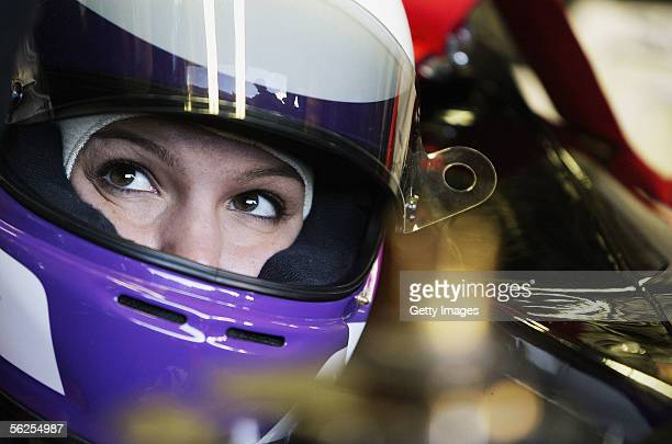 Katherine Legge of Great Britain prepares to drive a Minardi Formula One car in a test on November 22 2005 in Vallelunga Italy A female driver has...