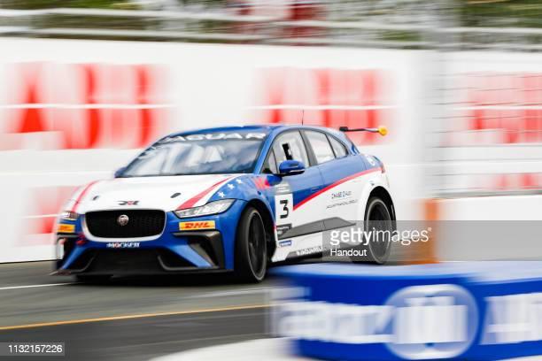 Katherine Legge , Rahal Letterman Lanigan Racing, drives in the Jaguar i-Pace eTrophy race during the 2019 Sanya E-Prix as part of Formula E 2019...