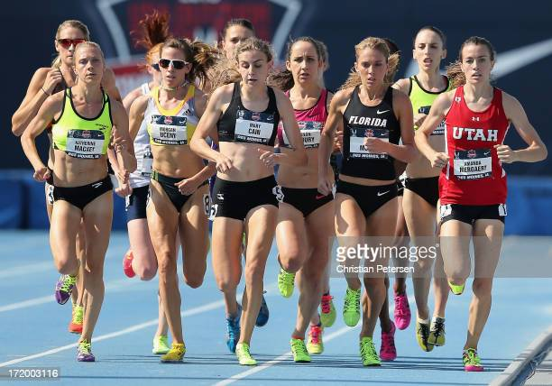 Katherine Mackey, Morgan Uceny, Mary Cain, Cory McGee and Amanda Mergaert compete in the Women's 1,500 Meter Run on day three of the 2013 USA Outdoor...
