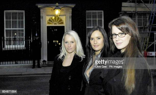 Katherine Martinez and Sian Welgemoed with lap dance club manager Sharon Warneford visit Downing Street London to deliver a petition to Number 10 in...
