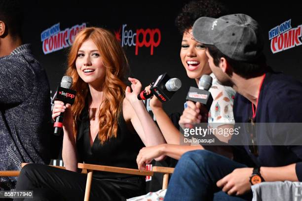 Katherine McNamara and Alisha Wainright speak at the Shadowhunter panel during 2017 New York Comic Con Day 3 on October 7 2017 in New York City