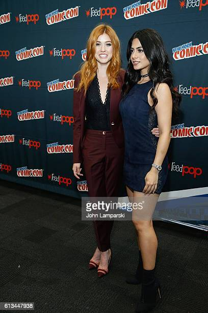 Katherine McNamara and Emeraude Toubia attend Shadowhunters press conference during the 2016 New York Comic Con day 3 on October 8 2016 in New York...