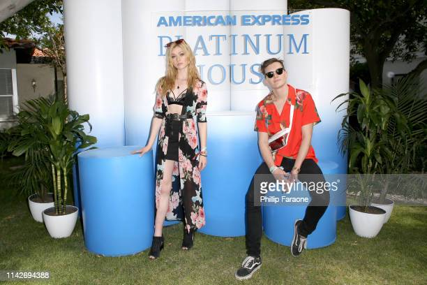 Katherine McNamara and Luke Baines at the American Express Platinum House at the Avalon Hotel Palm Springs on April 14, 2019 in Palm Springs,...
