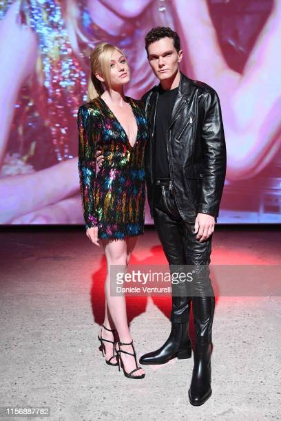 Katherine McNamara and Luke Baines attend the Dsquared2 show during Milan Men's and Women's Fashion fashion week Spring Summer 20 on June 16, 2019 in...