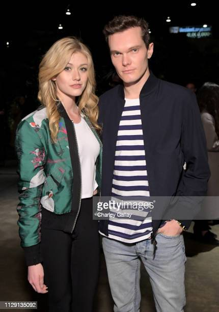 Katherine McNamara and Luke Baines attend the UNIQLO 2019 Collections Celebration at Smogshoppe on March 7, 2019 in Los Angeles, California.