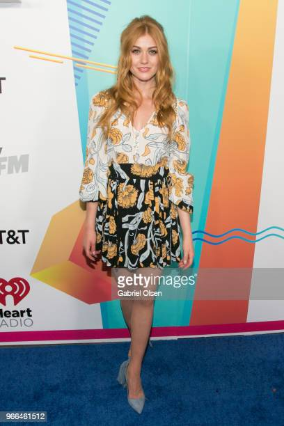 Katherine McNamara arrives for iHeartRadio's KIIS FM Wango Tango By ATT at Banc of California Stadium on June 2 2018 in Los Angeles California