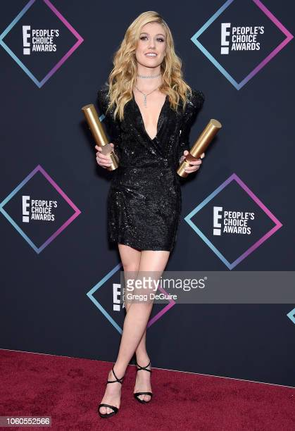 Katherine McNamara of Shadowhunters The Mortal Instruments Show of 2018 poses in the press room at the People's Choice Awards 2018 at Barker Hangar...
