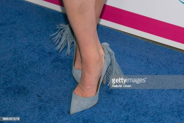 Katherine McNamara shoe detail arrives for iHeartRadio's KIIS FM Wango Tango By ATT at Banc of California Stadium on June 2 2018 in Los Angeles...