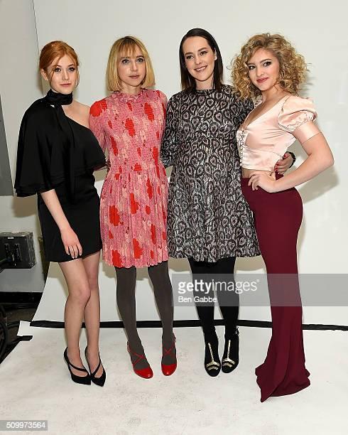 Katherine McNamara Zoe Kazan Jena Malone and Willow Shields backstage at the Jill Stuart fashion show during Fall 2016 New York Fashion Week at...