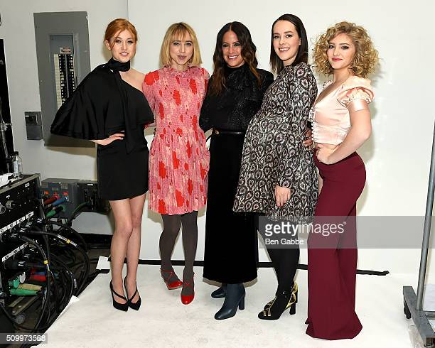 Katherine McNamara Zoe Kazan Jill Stuart Jena Malone and Willow Shields backstage at the Jill Stuart fashion show during Fall 2016 New York Fashion...