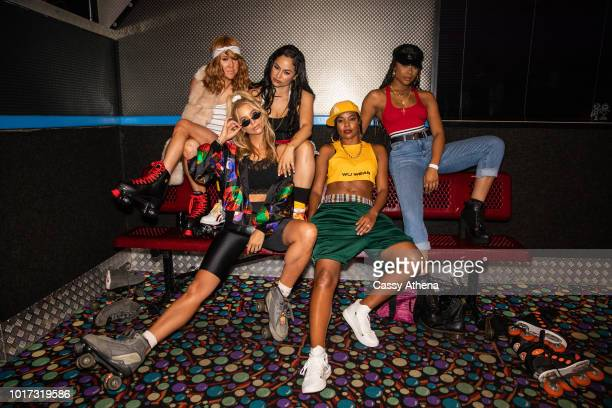 Katherine Nyhan Sabina Gadecki Mia Wright Gabrielle Union and Ajiona Alexus pose at the 7th Annual 90's Skate Night Fundraiser hosted by Delon...