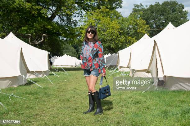 Katherine Ormerod attending Wilderness festival 2017 wearing a See by Chloe top JWAnderson bag and Hunter Wellies available from Harrodscom on August...
