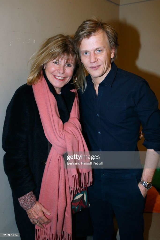 Katherine Pancol and Alex Lutz pose after the Alex Lutz One Man Show At L'Olympia on February 8, 2018 in Paris, France.