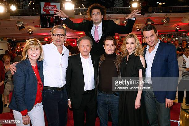 Katherine Pancol Lambert Wilson Michel Drucker Eric Antoine Thierry Fremont Pascale Arbillot and Julien Boisselier attend the 'Vivement Dimanche'...