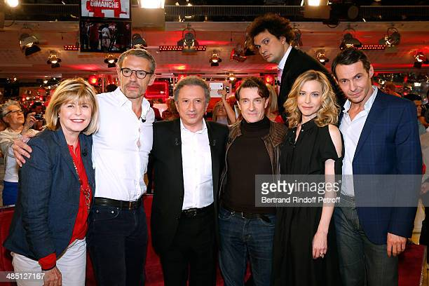 Katherine Pancol Lambert Wilson Michel Drucker Thierry Fremont Eric Antoine Pascale Arbillot and Julien Boisselier attend the 'Vivement Dimanche'...