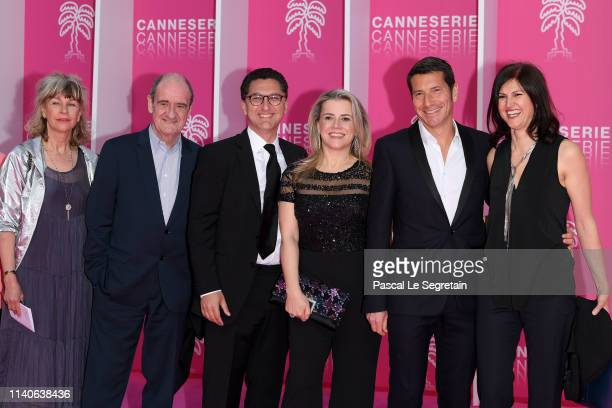 Katherine Pancol Pierre Lescure Maxime Saada Sylvie Saada David Lisnard Mayor of Cannes and Jacqueline Pozzi attend the 2nd Cannesseries...