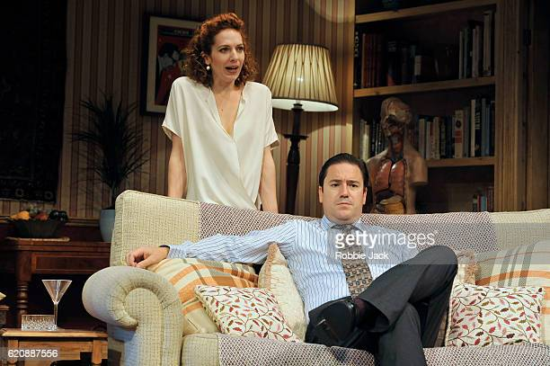 Katherine Parkinson as Eleanor and Rufus Jones as Richard in Terry Johnson's Dead Funny directed by Terry Johnson at the Vaudeville Theatre on...