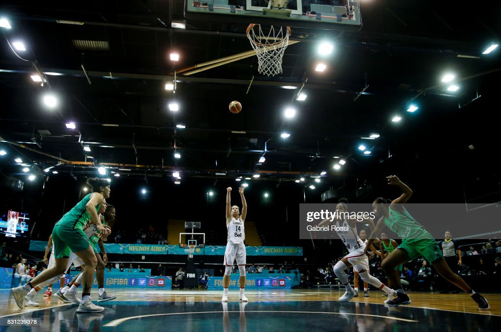 Katherine Plouffe of Canada shoots a free throw during a match between Canada and Brazil as part of the FIBA Women's AmeriCup Semi Final at Obras Sanitarias Stadium on August 12, 2017 in Buenos Aires, Argentina.