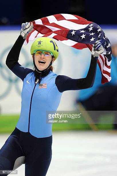 Katherine Reutter of the United States celebrates the silver medal in the Ladies 1000m Short Track Speed Skating Final on day 15 of the 2010...