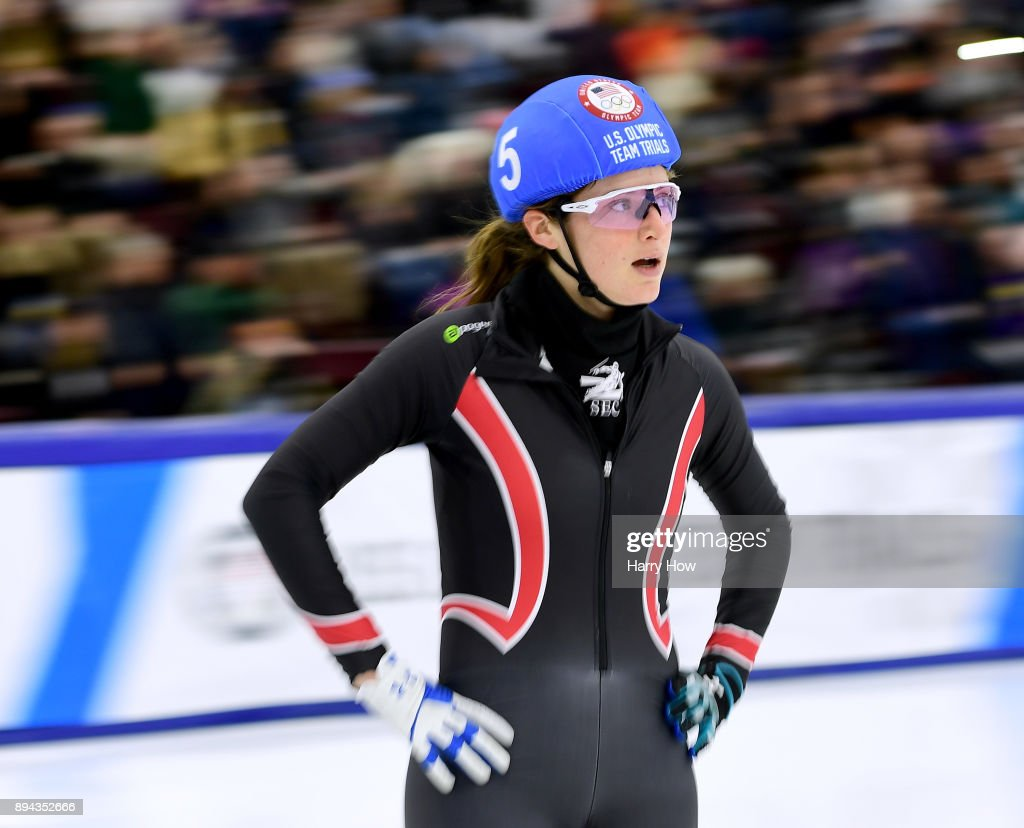 Katherine Reutter-Adamek #5 reacts to a third place finish in the Women's 1000 Meter Semi Final during the 2018 U.S. Speedskating Short Track Olympic Team Trials at the Utah Olympic Oval on December 17, 2017 in Salt Lake City, Utah.