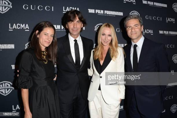 Katherine Ross, CEO of Gucci Patrizio di Marco, Creative Director of Gucci Frida Giannini and LACMA CEO Michael Govan attend Gucci's presentation of...