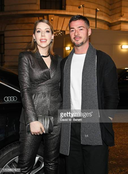 Katherine Ryan and Bobby Kootstra arrive in an Audi at the GQ Car Awards at Corinthia London on February 03 2020 in London England