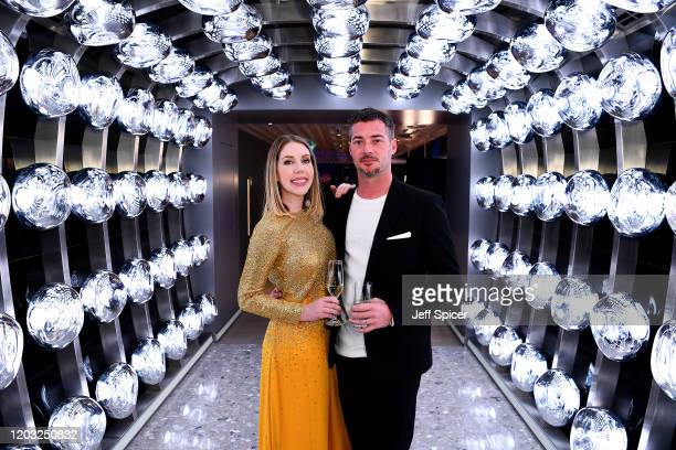 Katherine Ryan and Bobby Kootstra attend a drinks reception on board Virgin Voyages' new cruise ship 'Scarlet Lady' on February 25 2020 in Liverpool...