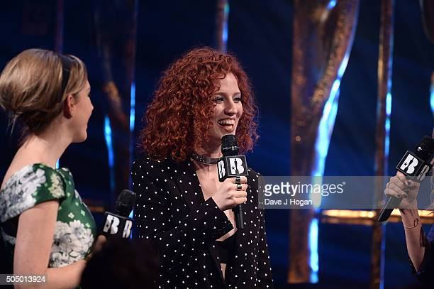 Katherine Ryan and Jess Glynne onstage at the nominations launch for The Brit Awards 2016 at ITV Studios on January 14 2016 in London England