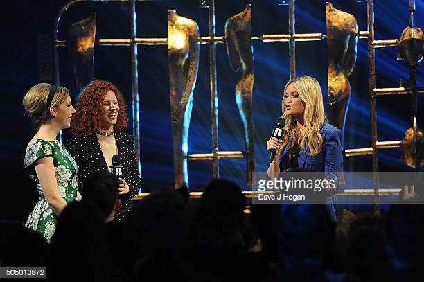 Katherine Ryan Jess Glynne and Laura Whitmore onstage at the nominations launch for The Brit Awards 2016 at ITV Studios on January 14 2016 in London...
