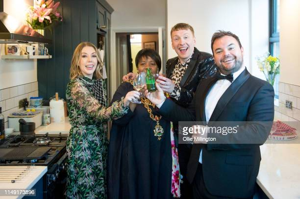 Katherine Ryan Lord Mayor of Birmingham Councillor Yvonne Mosquito Joe Lycett and Lloyd Griffith at the opening of Joe Lycett's new kitchen extension...