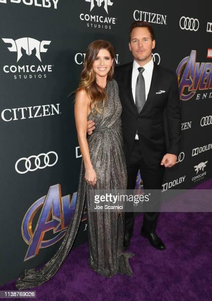 Katherine Schwarzenegger and Chris Pratt attend Audi Arrives At The World Premiere Of Avengers Endgame on April 22 2019 in Hollywood California